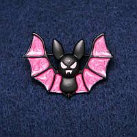 Брошь Летучая Мышь розовая эмаль 28х40мм