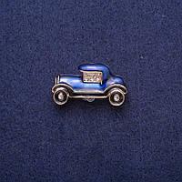 Брошь Автомобиль сине-черная эмаль со стразами, золотистый металл 17х29мм