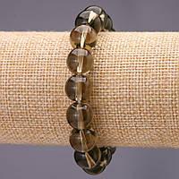Браслет из камня Раухтопаз (им) гладкий шарик d-12(+-)мм на резинке обхват 18см