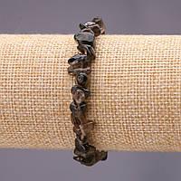 Браслет из натурального камня Раухтопаз крошка d-7(+-)мм на резинке обхват 18см