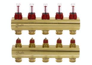 Коллектор для теплого пола FHF 5+5 c ратометрами Danfoss