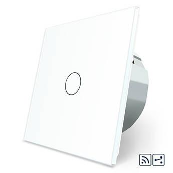 Сенсорный бесконтактный радиоуправляемый проходной выключатель Livolo белый стекло (VL-C701SR-PRO-11)