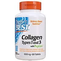 Коллаген Типов 1&3 1000мг, Peptan, Doctor's Best, 180 таблеток