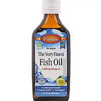 Рыбий жир, Вкус Лимона, Норвежская серия, Carlson Labs, The Very Finest Fish Oil Lemon, 200 мл