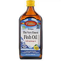 Рыбий жир, Вкус Лимона, Норвежская серия, Carlson Labs, The Very Finest Fish Oil Lemon, 500 мл
