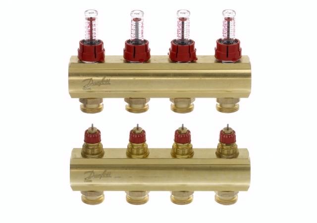Коллектор для теплого пола FHF 4+4 c ратометрами Danfoss