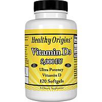Витамин D3, Vitamin D3, 5000 IU, Healthy Origins, 120 капсул