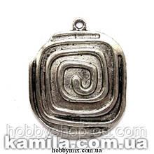 "Кулон металлический ""квадратная спираль"" серебро (3,2х4 см) 2 шт в уп."