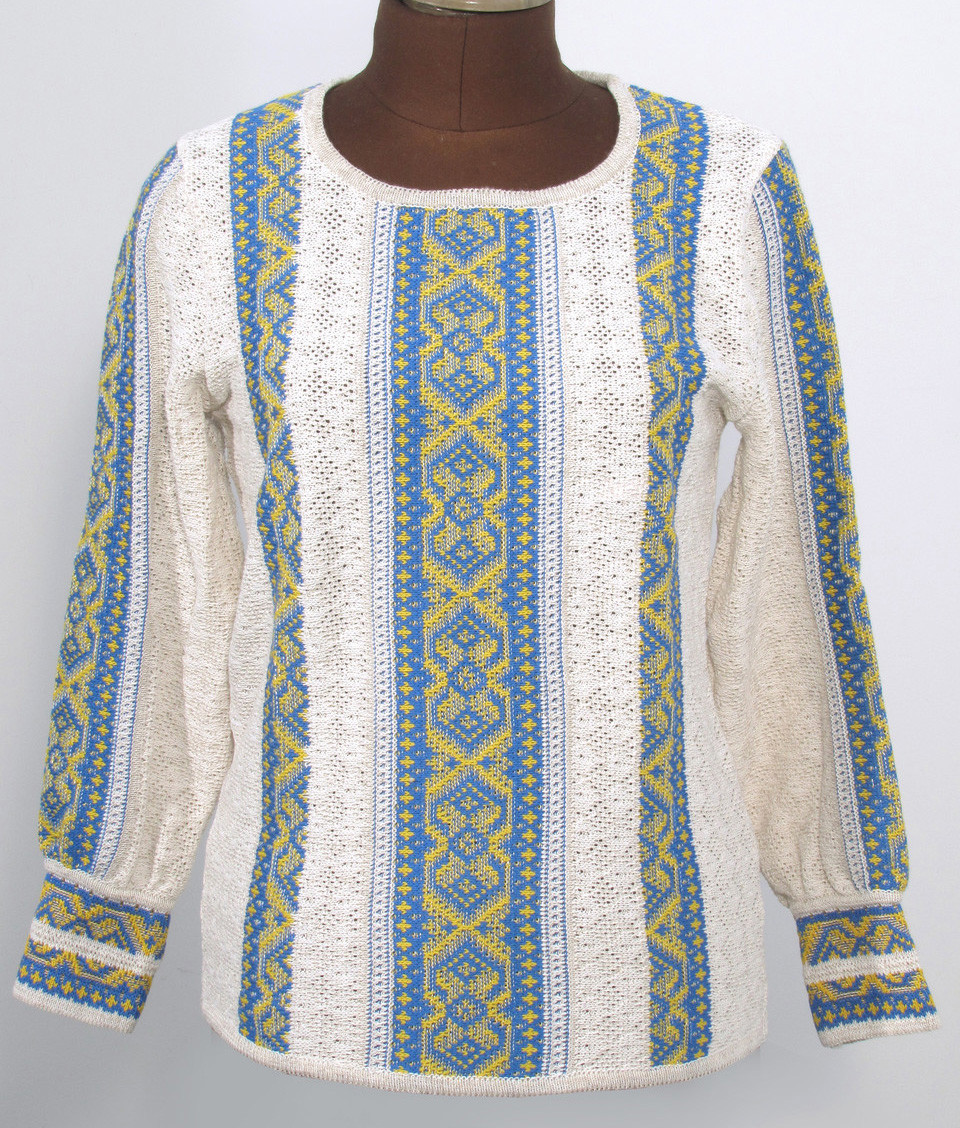 Женская блузка на льне - Ромбы