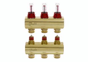 Коллектор для теплого пола FHF 3+3 c ратометрами Danfoss