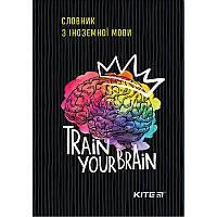 Словарь для иностранного языка А5, черный, Kite Brain, карт. тв., (K19-407-2)