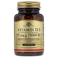 Витамин D3 5000 IU (125 мкг), Solgar, 100 желатиновых капсул