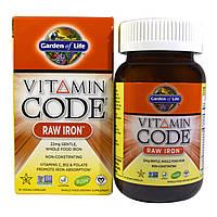 Сырое Железо с Витаминами и Пробиотиками, Vitamin Code, Garden of Life, 30 гелевых капсул