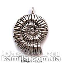 "Кулон металлический ""наутилус"" серебро (2,7х3,5 см) 1 шт в уп."