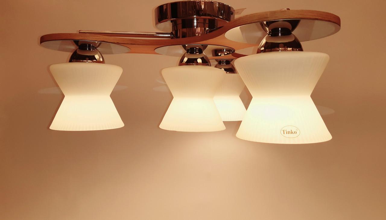 Потолочный светильник TINKO 909CR/4H SPINER хром/дерево