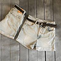 0099 Whats up шорты джинсовые женские с царапками синие стрейчевые (26-32, 7 ед.)