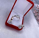Серебряный комплект с золотом и белым  цирконом Эви, фото 2