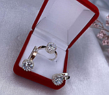 Серебряный комплект с золотом и белым  цирконом Эви, фото 4
