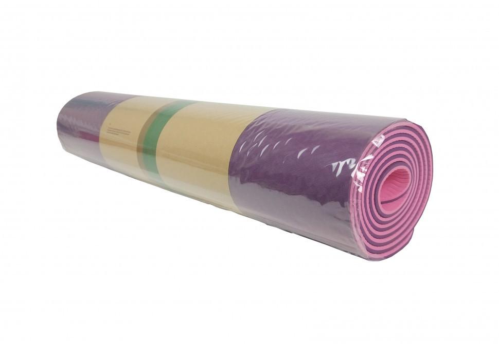 Йогамат, коврик для фитнеса и йоги (Розово Фиолетовый)