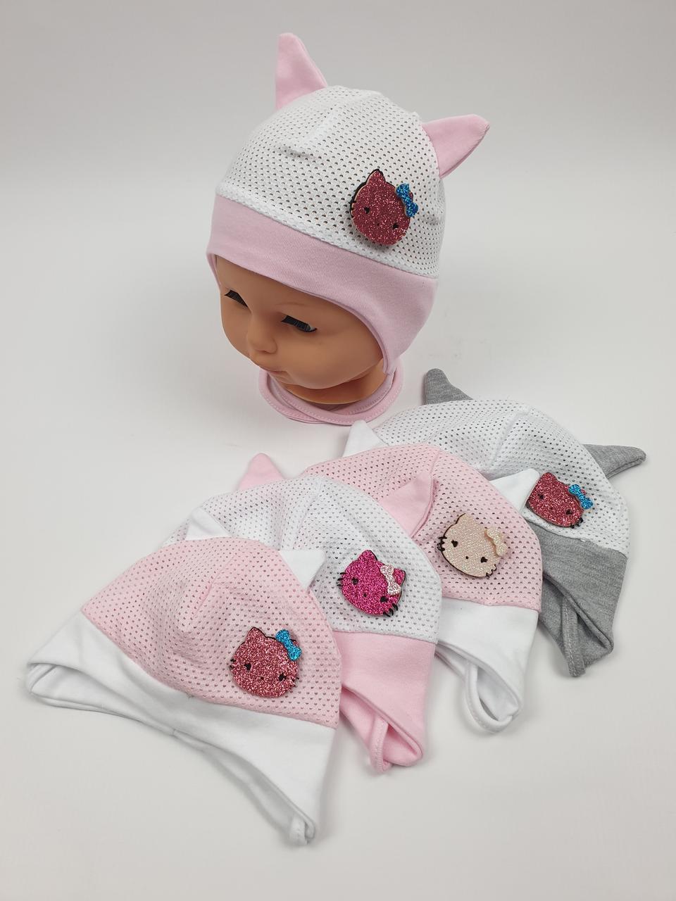 Летние детские шапочки в сеточку с ушками для девочек, р. 36-38 40-42, Польша (Ala Baby)