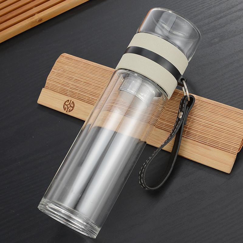 ✅ Заварник для чая  Термокружка с двойным стеклом Колба из боросиликатного стекла Инфузер для Чая 400 мл.