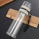 ✅ Заварник для чая  Термокружка с двойным стеклом Колба из боросиликатного стекла Инфузер для Чая 400 мл., фото 5