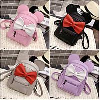 Детский мини рюкзак Микки с ушками и бантиком, фото 1