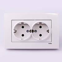 Розетка электрическая VI-KO Karre скрытой установки двойная с заземления (белая)
