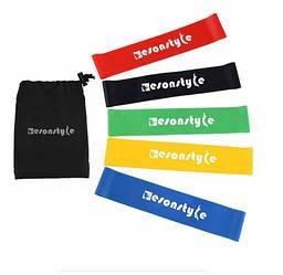 Набор резинок для фитнеса и спорта (эластичная лента эспандер) Esonstyle 5 шт + Чехол (A3007)