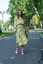 Платье женское зеленое со цветами с длинный рукавом, фото 2