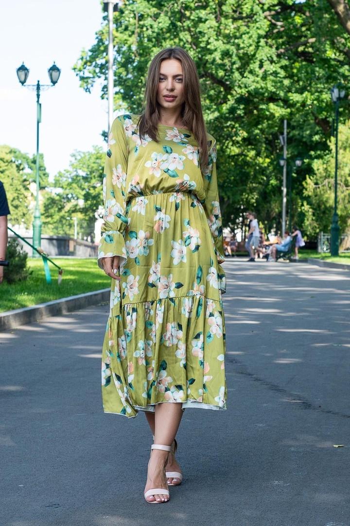 Платье женское зеленое со цветами с длинный рукавом