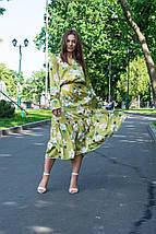 Платье женское зеленое со цветами с длинный рукавом, фото 3