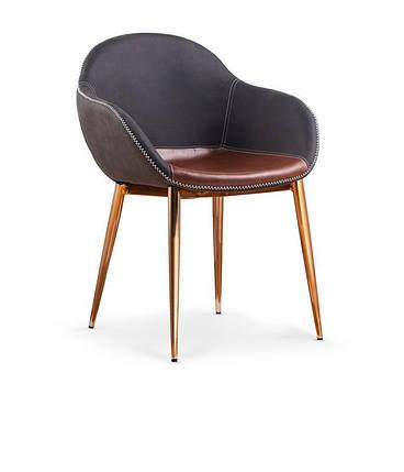 Стильний дизайнерський обідній шкіряний стілець на золотих ніжках, фото 2
