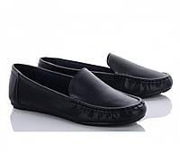 Кожаные женские туфли лодочки в черном цвете