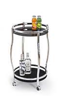 Стеклянный барный столик на колесиках круглый