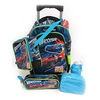 """Набор чемодан-рюкзак на 2 колесах+сумка+пенал+ланчбокс+бутылка """"Машина"""""""