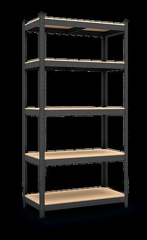 Стеллаж Бюджет (1800х900х400), крашенный (антрацит), 5 полок, ДВП, 150 кг/полка, на зацепах, фото 2