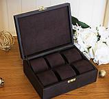 Шкатулка для хранения  часов 22*17,5*7,5 Гранд Презент 603410 коричневая, фото 3