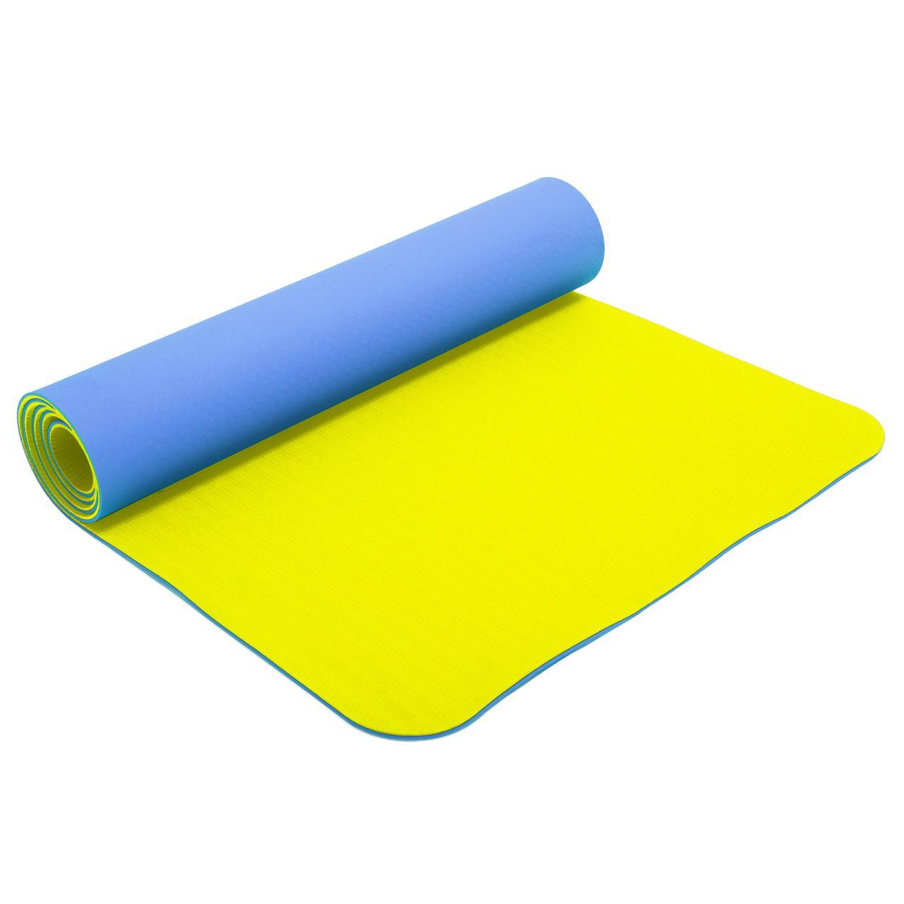 Килимок для фітнесу і йоги TPE+TC 6мм двошаровий