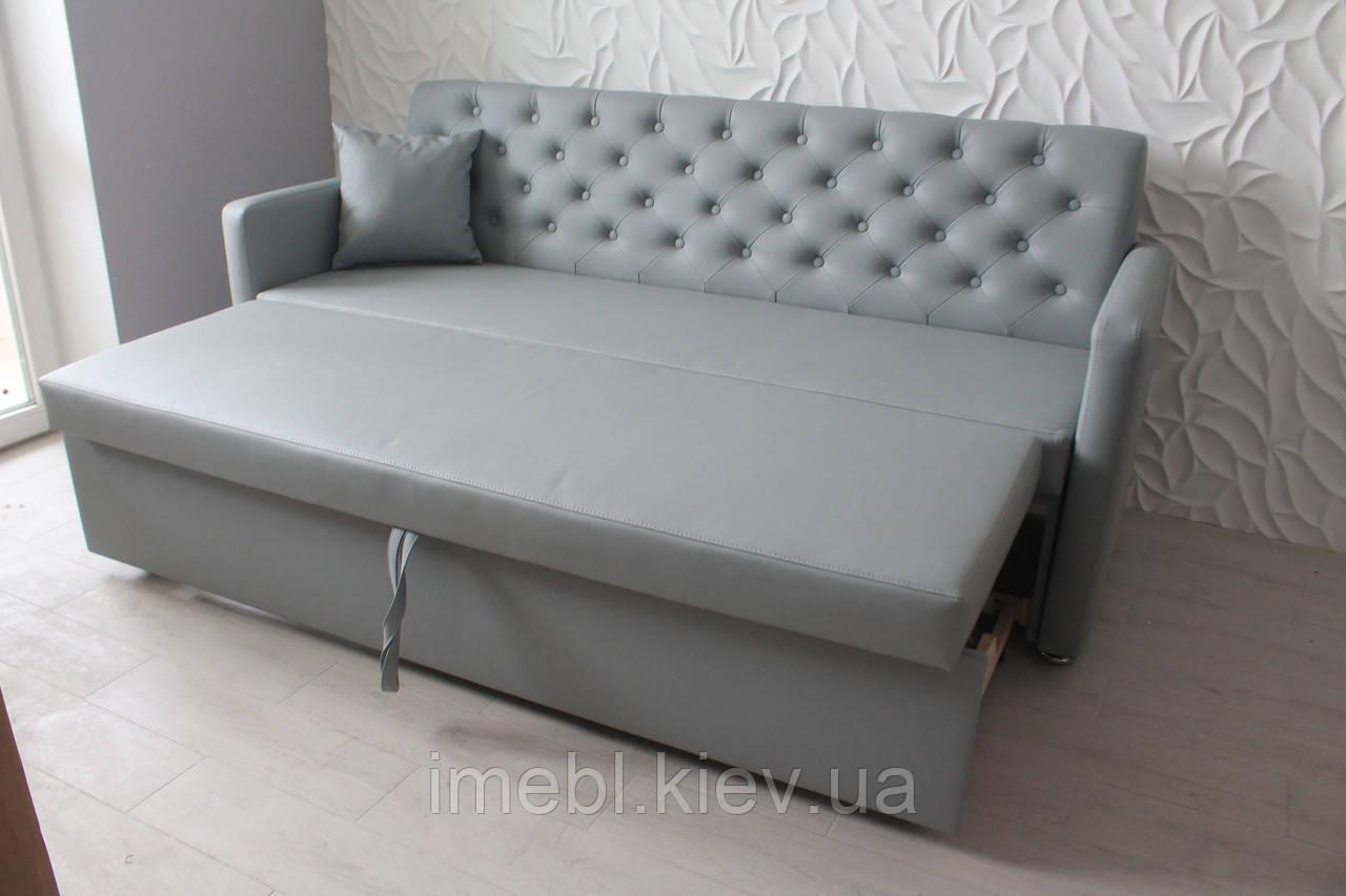 Кухонная мягкая лавочка с подлокотникками и спальным местом (Серый кожзам.)