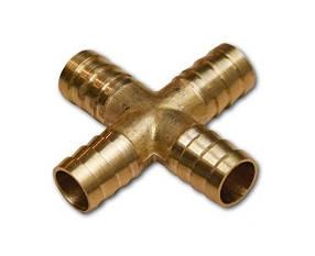 Cоединитель на шланг (крестовина, латунь) X-образный 6*6*6*6мм AIRKRAFT E102-7-1