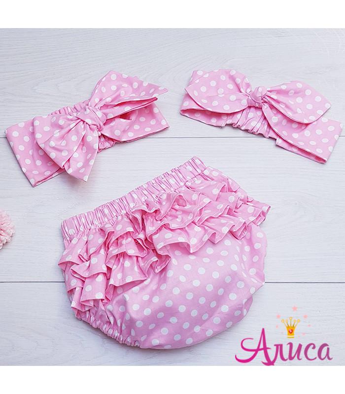 """Летний комплект для девочки """"Горох на нежно- розовом """":  Трусики на памперс (Блумеры) + Афробант"""