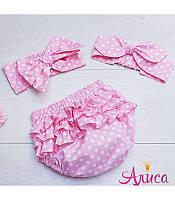"""Летний комплект для девочки """"Горох на нежно- розовом """":  Трусики на памперс (Блумеры) + Афробант, фото 1"""