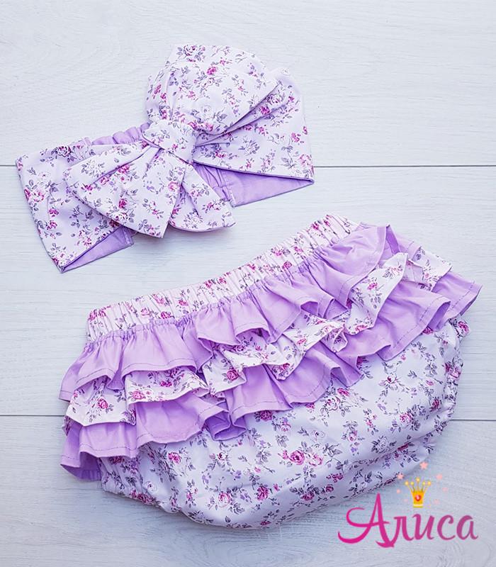 """Летний комплект для девочки """"Сиренево- розовые цветочки """":  Трусики на памперс (Блумеры) + Афробант"""