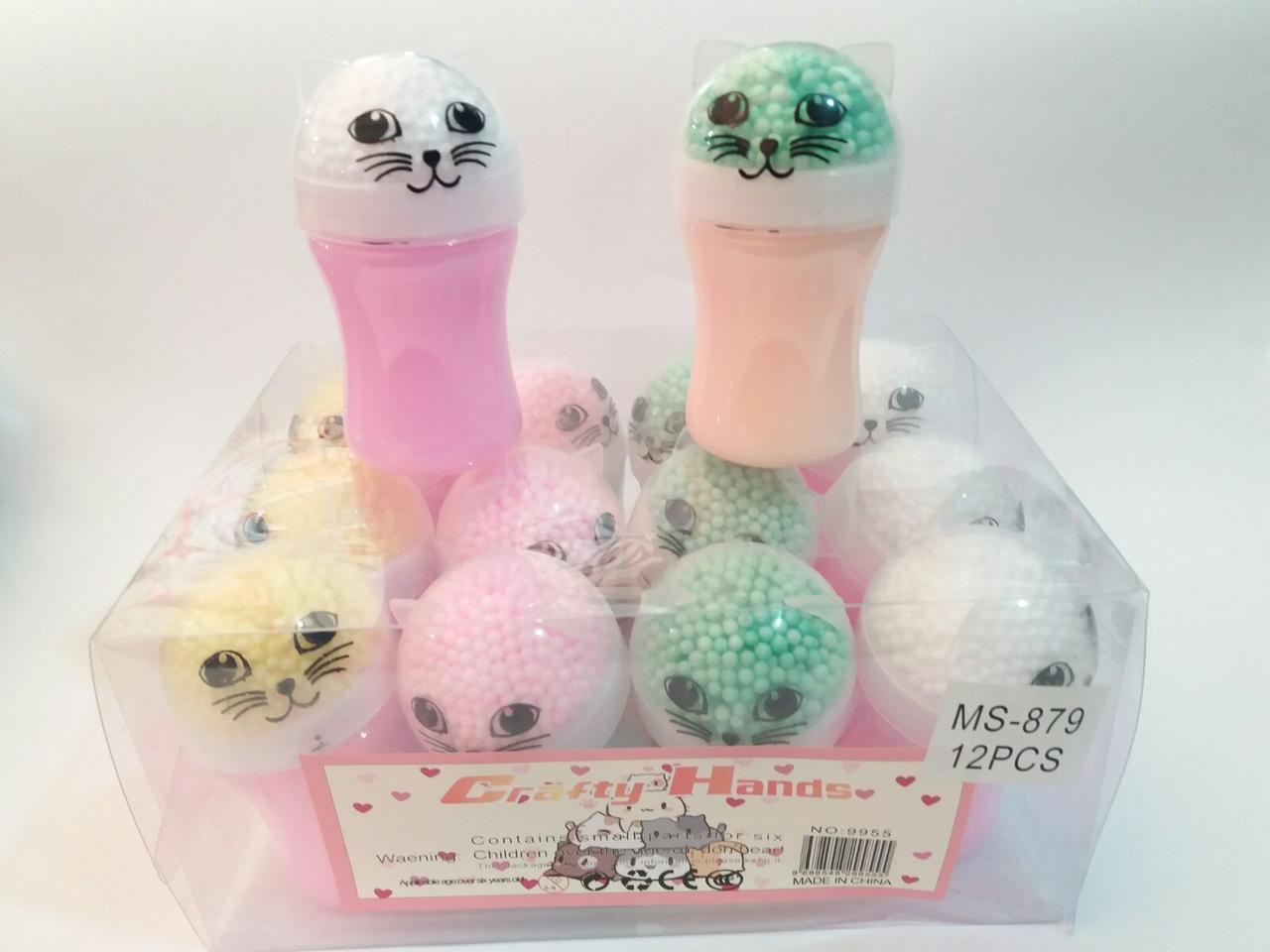 Слайм жвачка для рук Кошечка с шариками
