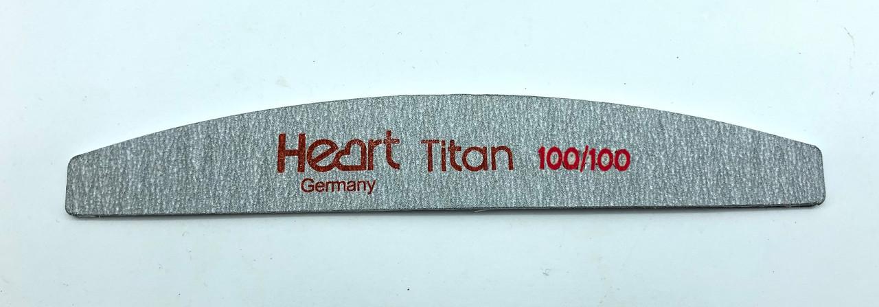 Пилка тонкая халф (лодочка)Titan серая Heart 100/100