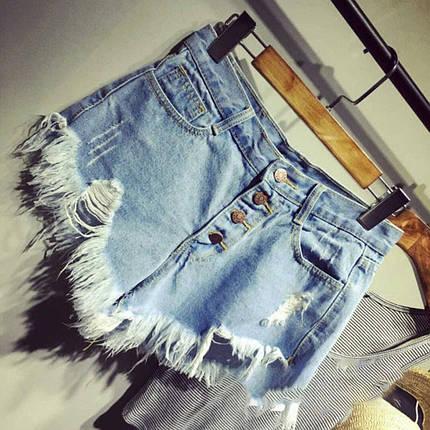 Шорты джинсовые высокая посадкаснизу бахрома, фото 2