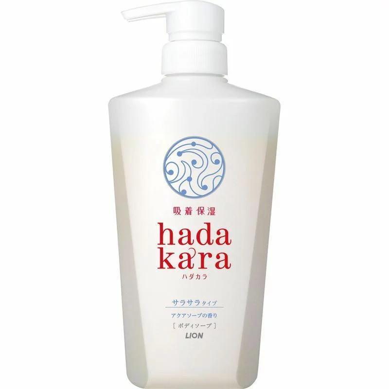 LION Hadakara Гель для душа, удерживающий влагу на коже, аромат аква-мыла, 500 мл