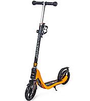 Двухколесный самокат для детей модель Scale Sports SS-09 Orange с полиуретановыми колесами, ножным тормозом.