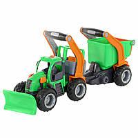 """48400 """"ГрипТрак"""", трактор для прибирання снігу з напівпричепом (у сіточці)"""
